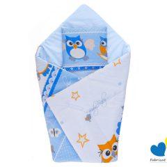 Perna infasat bebe MyKids cu pernita CADOU Bufnita Albastru
